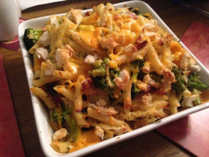Recipe: crusty and cheesy, broccoli, pasta and bacon bake